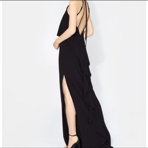 Halston Heritage High Neck Back Ruffle Drape Gown
